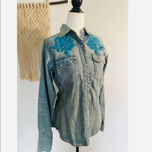 NWT Vintage Western Denim Bank Button-up Shirt